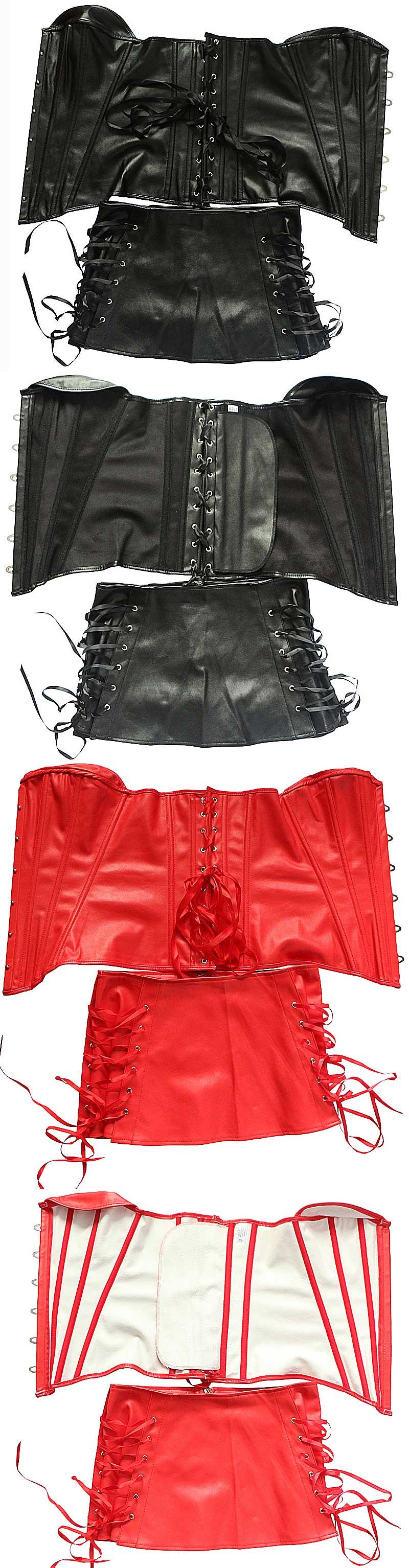 Red Faux Leather Corset Dress Suit Overbust Busiter Suit Plus Size Sexy Corselet Black Party Club Wear Fish Boned Gothic Korset 13