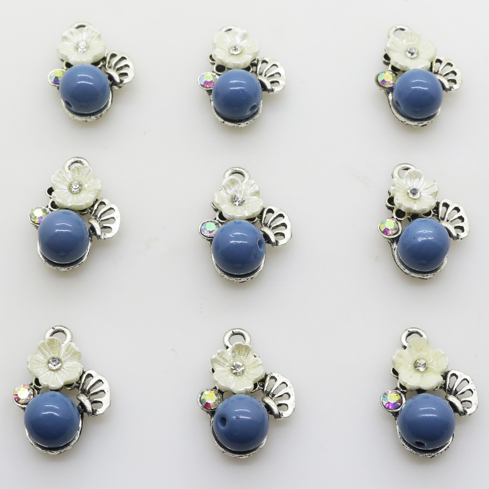 New 10pcs 22*15mm Silver Pearl Pendant Metal Rhinestone Crystal Beads Jewelry Accessories/Component for Women Chain Decoration