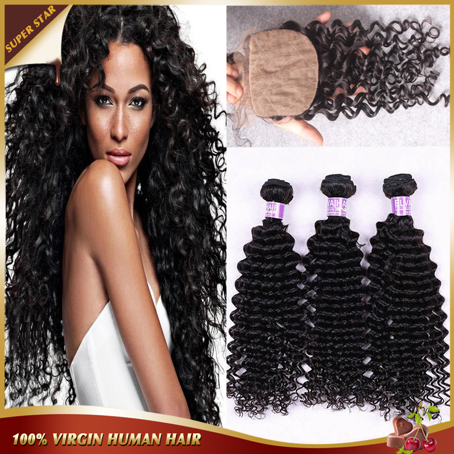 ФОТО Peruvian Curly Hair With Closure Deep Curly Virgin Hair Silk Lace Closure With Bundles Free Part Silk Base Closure With Bundles