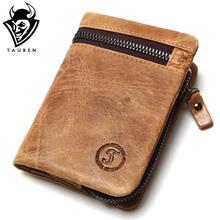 Фотография Genuine Cow Leather Mens Wallets Brand Logo Zipper Design Bifold Short Men Purse Male Clutch With Card Holder Coins Purses Walet