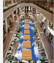 Walkway exhibition hall living room wooden bridge on the sky 3D outdoor floor painting pvc wallpaper 3d Home Decoration