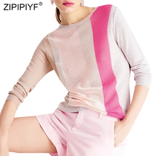 Casual Fashion Women Top Color Block Round Neck Long Sleeve Thin Simple Design Sweaters Striped Hollow Out Spring Sweaters Z214
