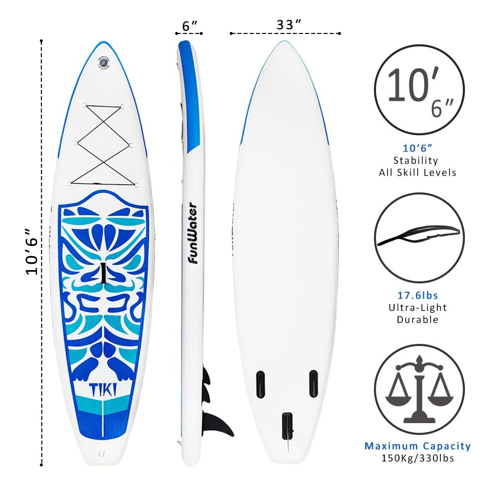 Cadeaux du Jour de Valentine FunWater Gonflable Paddle Board Sup Paddle, Sac, Laisse, Pompe, sac de téléphone stand up paddle surf sup - 4