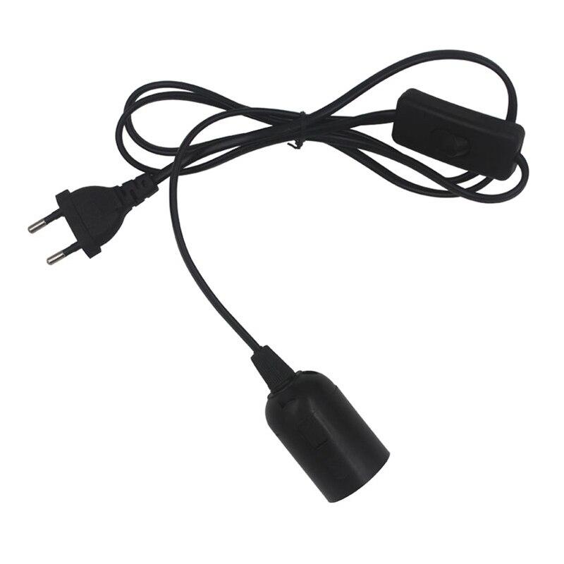 2PCS 1.8m Power Cord Cable E27 Lamp Bases EU plug with