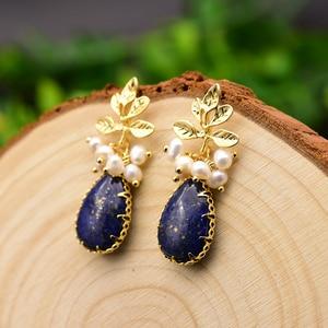 Image 2 - GLSEEVO Natürliche Frische Wasser Barocke Perle Ohrringe Für Frauen Pflanze Blätter Baumeln Ohrringe Luxus Handgemachtes Feine Schmuck GE0308