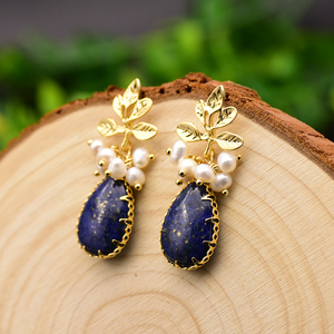 Image 2 - GLSEEVO Natural Fresh Water Baroque Pearl Earrings For Women Plant Leaves Dangle Earrings Luxury Handmade Fine Jewelry GE0308