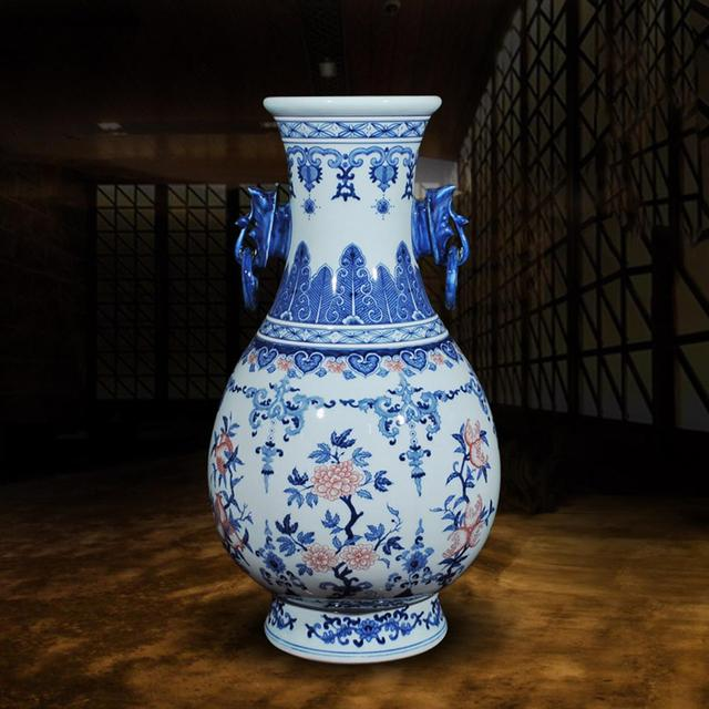 China Hand Blue And White Porcelain Double Elephant Ear Decorate