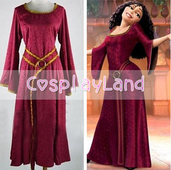 Rapunzel Tangled Mother Gothel Dress Costume Cosplay Adult Woman's Medieval Dress Party Cosplay Costume ruffles 2029 gaess medieval dress costume cartoon character costumes dress medieval dress