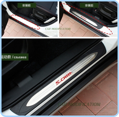High quality 4pcs door sills scuff footplate,guard plate,Threshold decorative plate bar with logo for Suzuki S-cross 2014-2016