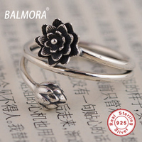 BALMORA 100 Real 925 Sterling Silver Jewelry Retro Lotus Flower Opening Rings For Women Lover Party