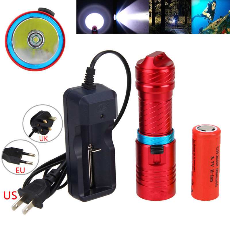Scuba 1000Lm XM L T6 LED Diving Flashlight Waterproof 100M Torch 26650 Lamp