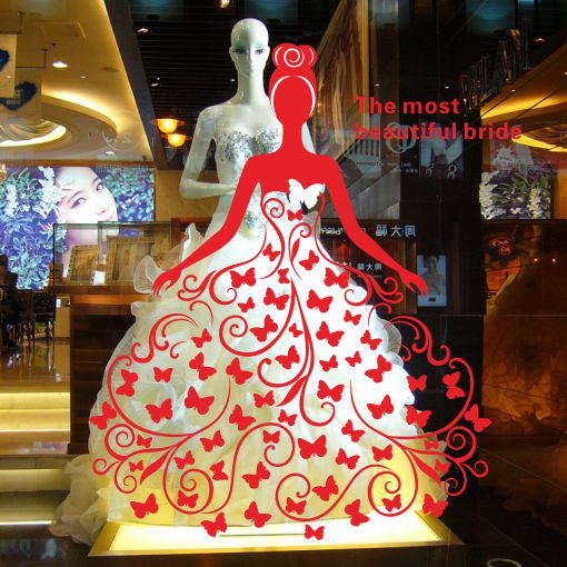 Butterfly fantasy bridal shop clothing store window wall for Wedding dress display at home