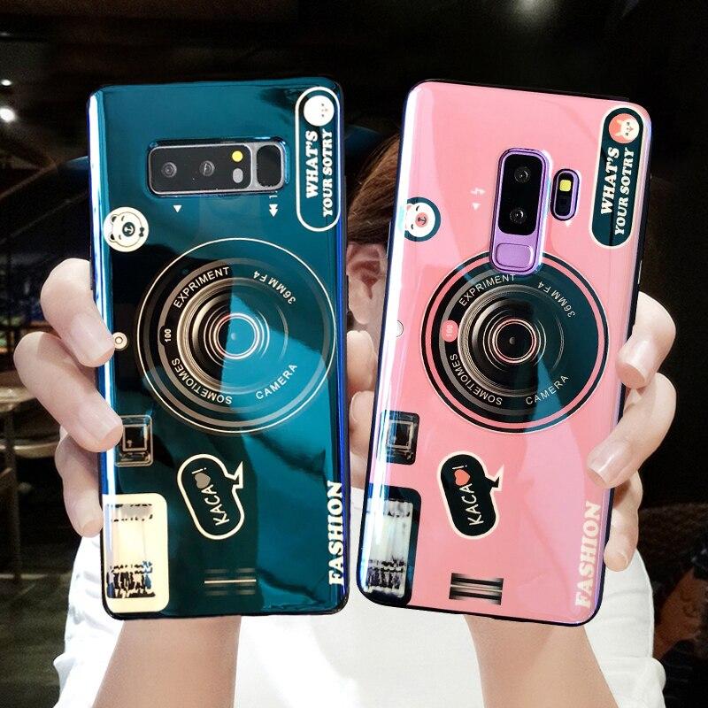 Vintage impreso caso del teléfono de la cámara para Samsung Nota 9 encantadora linda pareja suave TPU cubierta del teléfono brillante para Samsung nota 9