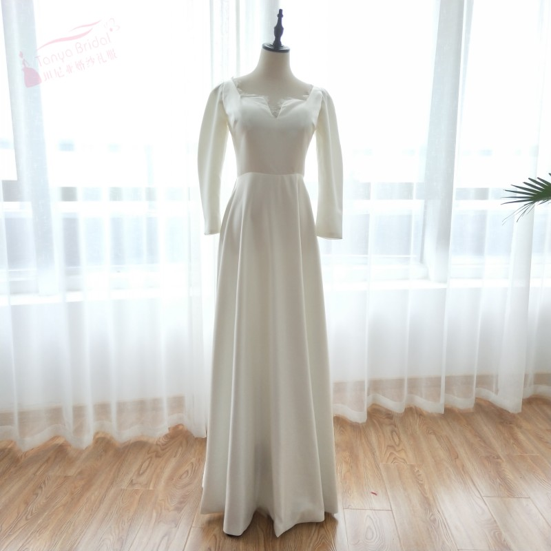 Long Sleeve Elegant Wedding Dresses V Neck New Cut Satin Floor Length Bridal Gown Musilm Charming