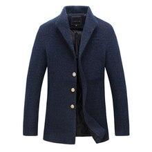 Мужчины Зимой Шерстяные Пальто Британский Стиль Шерстяные Куртки Пальто Мужские Куртки и Пальто Верхняя Одежда Теплый Однобортный Шерстяное Пальто
