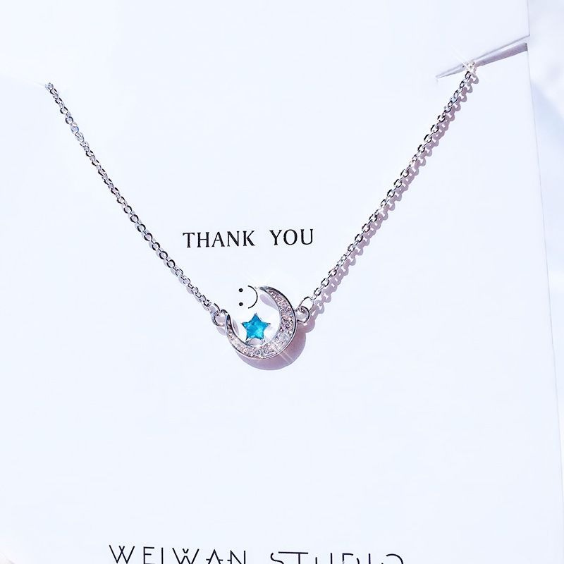 Summer Vintage 925 Sterling Silver Blue Moon Star Necklaces for Women Gift Lady Statement Necklace Collar Bijoux Fashion Jewelry