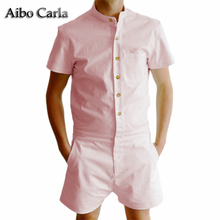 Summer Short Sleeve Casual men's Rompers Fashion Single Breasted Jumpsuit Zipper Overalls short cargo Pants Overalls