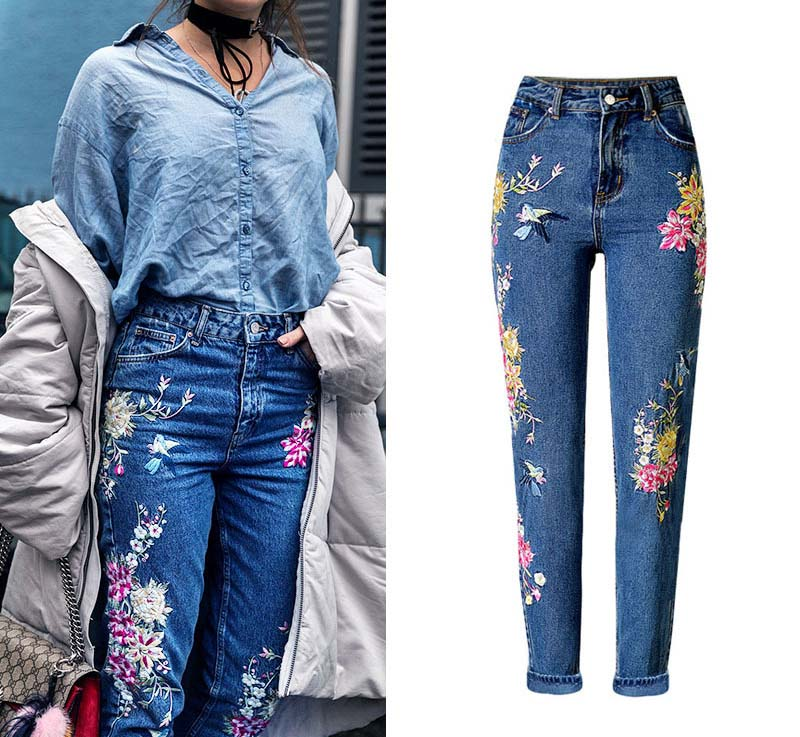 2017 Europe and the United States women's three-dimensional 3D heavy craft bird flowers before and after embroidery high waist Slim straight jeans large code system 46 yards (4)