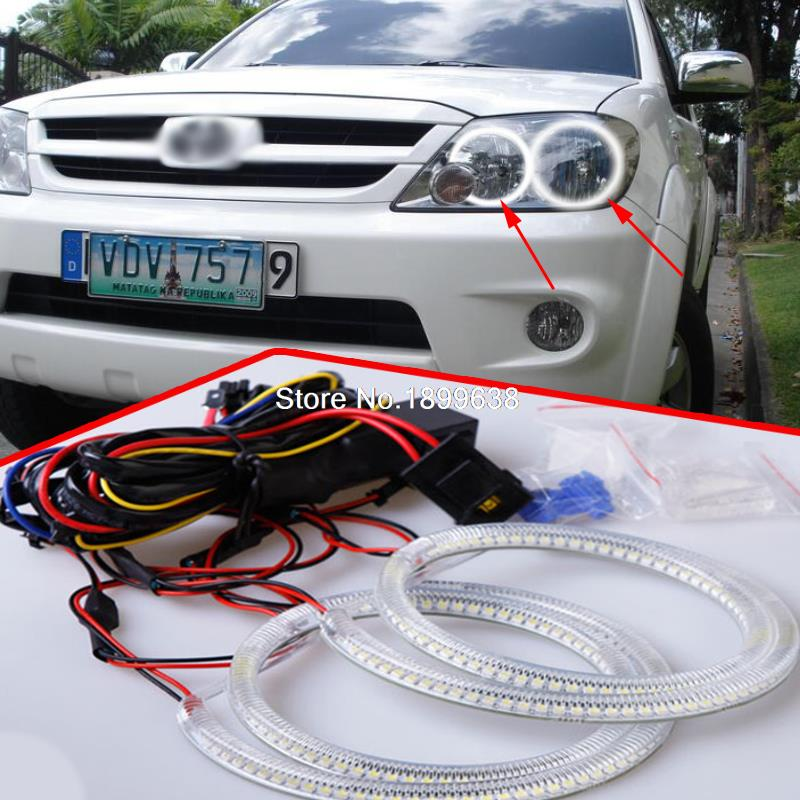 Super bright 7000K white 3528 smd led angel eyes halo rings car styling For Toyota FORTUNER 2004 2005 2006 2007 4pcs ccfl angel eyes ring for ford for focus ii mk2 2004 2005 2006 2007 2008 9 16v dc ccfl car headlights angel eyes ring