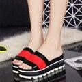 DreamShining Mujeres Zapatillas de Moda de Verano Color Sólido Del Mollete Sandalias de Tacón de Cuña Zapatillas Tamaño 35-39