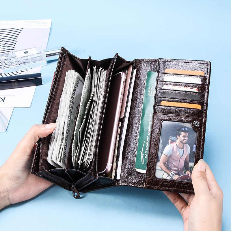 CONTACT'S אמיתי עור גברים ארוך ארנקים עם רוכסן מטבע ארנק גדול קיבולת זכר מצמד ארנק עבור iPhone דרכון Cartera
