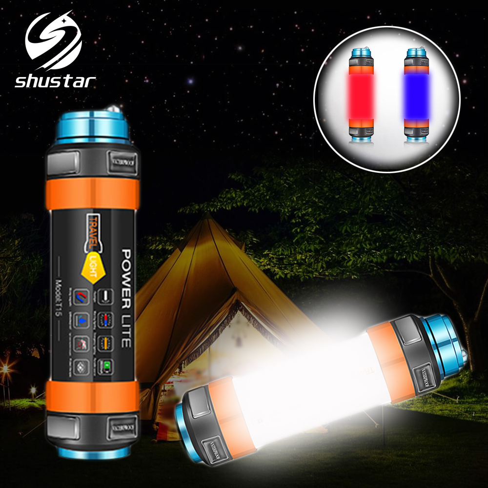 Multifunctional Rechargeable LED Flashlight Camping Lantern 7800mAH Tent Light Lamp Work Fishing Warning Light IP68 Waterproof