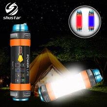 다기능 충전식 led 손전등 캠핑 랜턴 7800 mah 텐트 라이트 램프 작업 낚시 경고 빛 ip68 방수