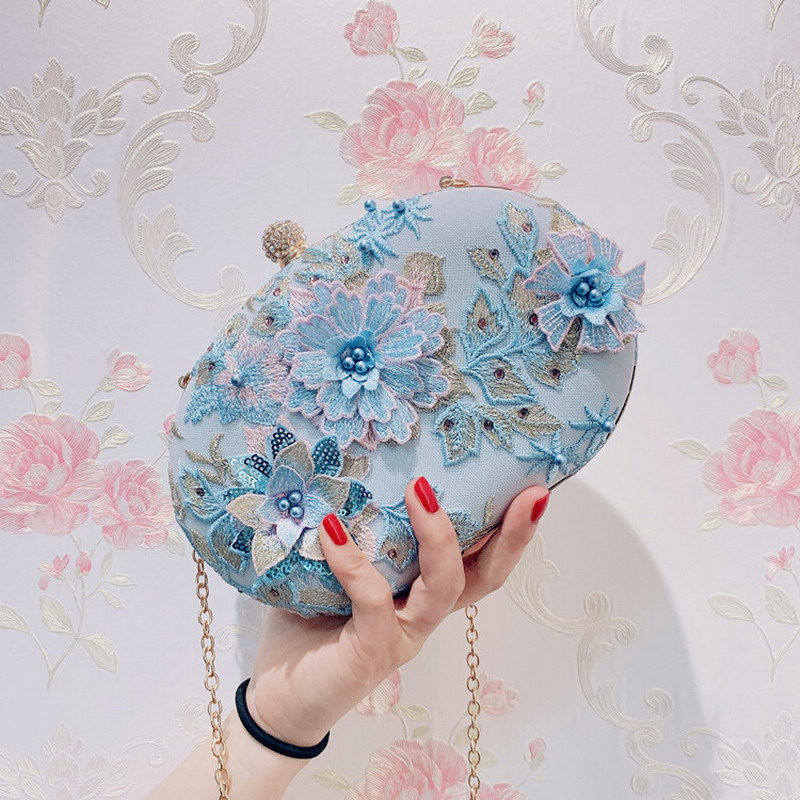 Blue Flower Clutch Evening Bags Vintage Handbags Purse Cross Body Shoulder Bag For Girls Wedding Bag Day Clutches Bolsa Feminina
