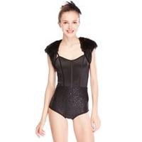 MiDee Black Dance Dresses Swan Sequins Jazz Dance Leotard Costumes With Fur Jacket Women Sexy Night Club Costume