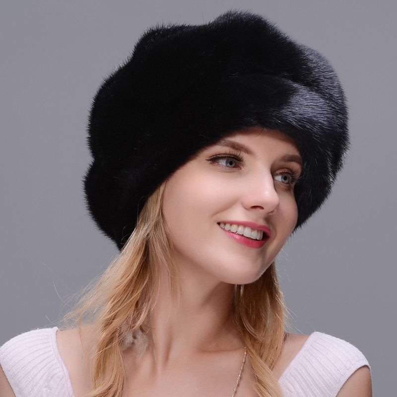 DENPAL Brand new fur hat style cloak fur hat real natural black mink fur hat for woman winter warm hat cap protection ear new style winter hat real female mink fur hat for women knitted mink fox fur cap female ear warm hat cap silver fox part less