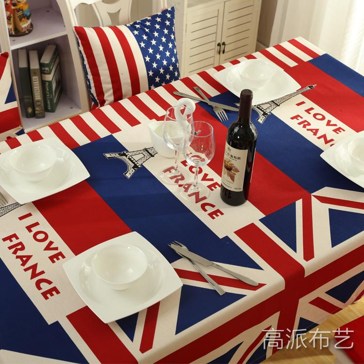 Canvas Table Cloth Classic Rice Word Flag Desk Creative Tablecloths Living Room Coffee Fabric Thick Secti
