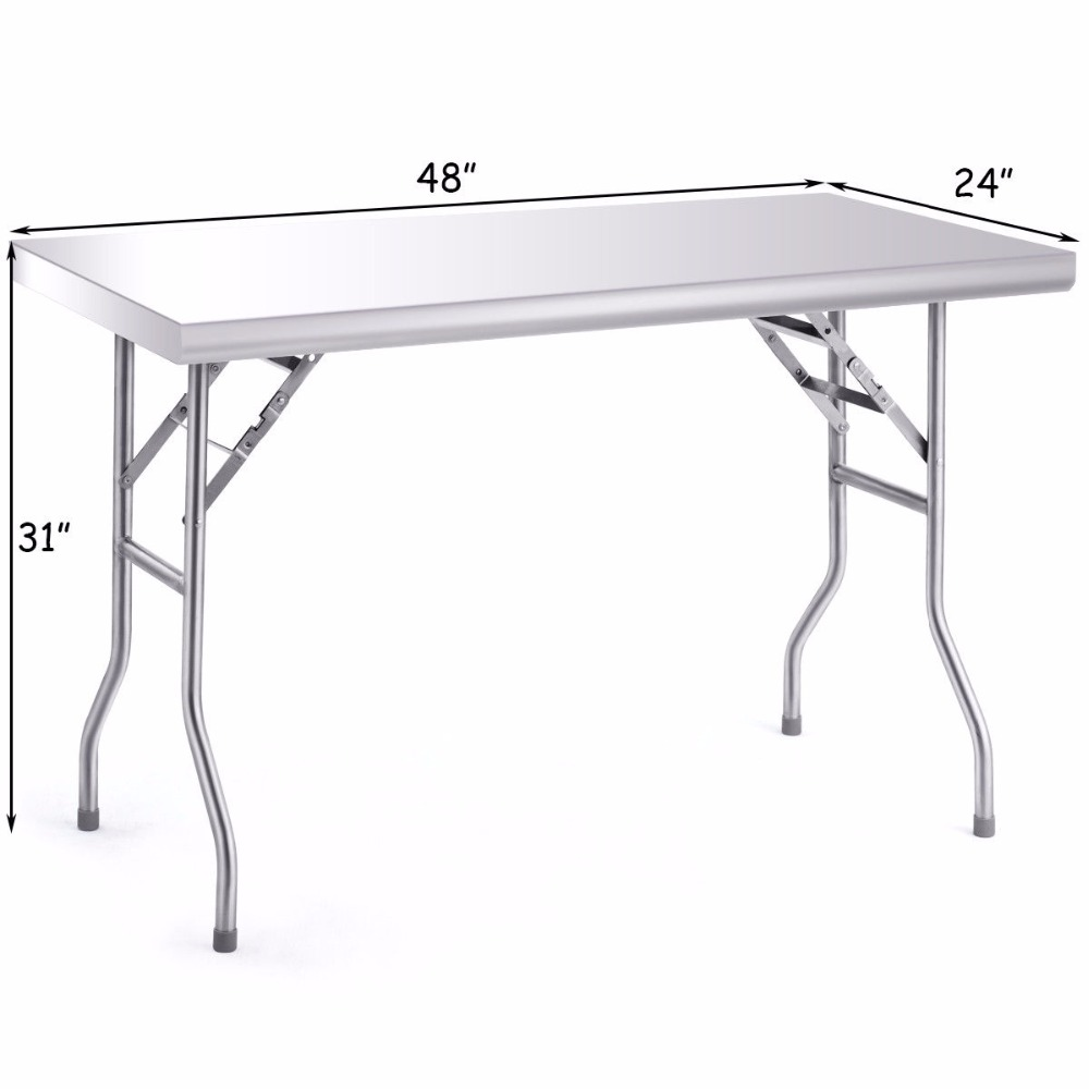 Giantex Details about Stainless Steel Folding Work Table 48 L x 24 W 484lbs Capacity Commercial Home Home Furniture TL33855