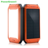 PowerGreen 10000mah Portable Waterproof Solar Power Bank Solar Cell Phone Charger Mini Solar Panel