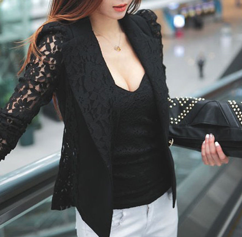 Fashion Women Sexy Sheer Lace Patchwork Blazer Coat Lady Suit Outwear OL Formal Slim Jacket Black White Plus Size S-3XL