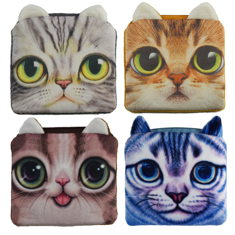 2017 Hot Sale Square Coin Purses Cute Cat Face Zipper Money Bag Children Mini Wallets Plush Gift Women Coin Wallets 2017 hot sale character mini wallets kids plush bag women cartoon coin purses ladies zipper pouch