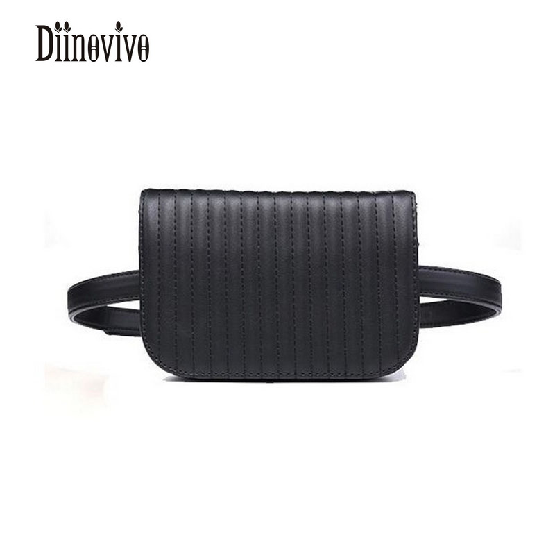 DIINOVIVO Vintage PU Stripe Leather Waist Bags Rivet Black Waist Packs Solid Casual Bolsa Feminina Belt Bags For Womens DNV0166 black embroidered stripe drawstring waist active bottoms
