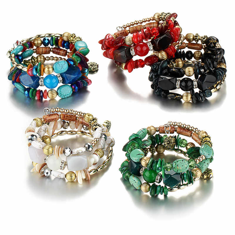 bec266260b IF YOU Bohemian Beads Crystal Charms Bracelets For Women Ethnic Tibet  Multilayer Imitation Natural Stone Bracelets