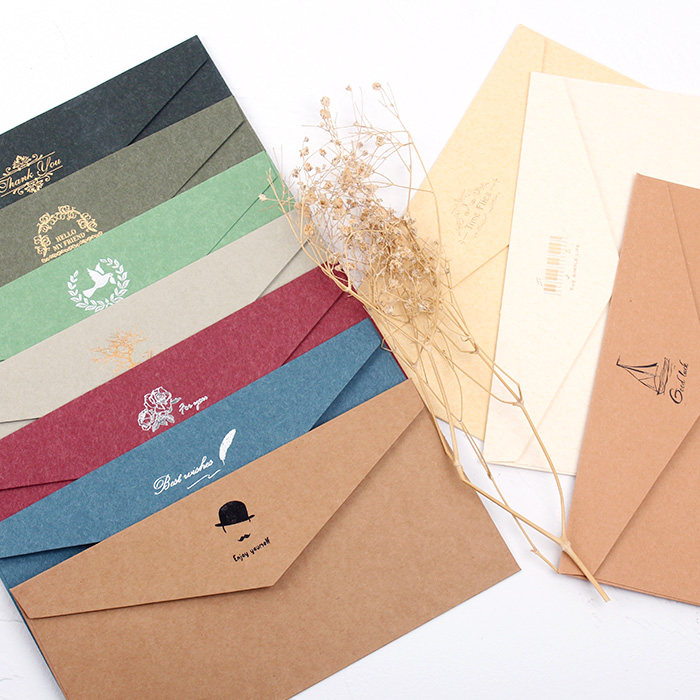 5pcs/Lot Retro Colour Bronzing Kraft Paper Envelopes DIY Multifunction School And Office Supplier Stationery