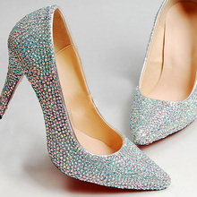 Wedding Dress Shoes Pointed Toe Rhinestone Bridal Dress Shoes Glitter Silver Lady Nightclub Shoes Spring Evening Banquet Pumps