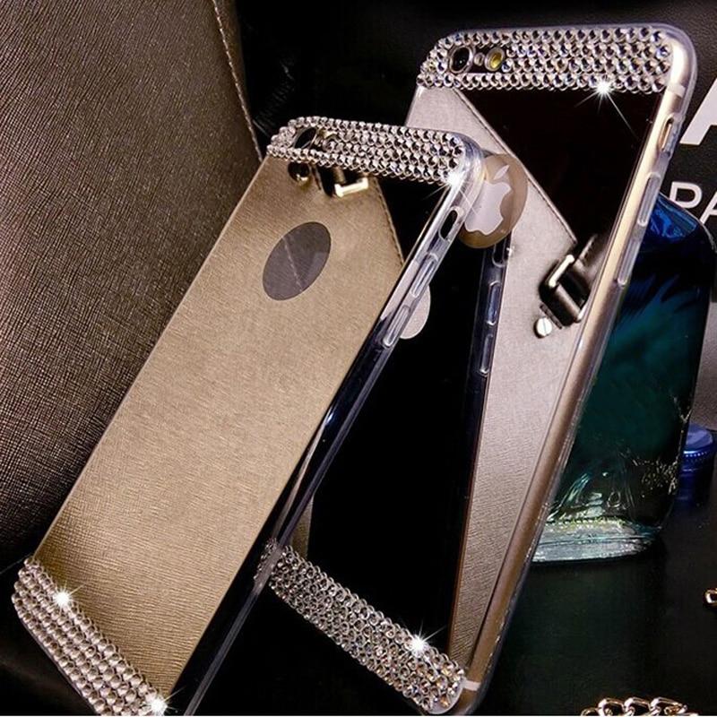 For Samsung Galaxy J1 J3 J5 J7 2016 S7 Edge S6 A3 A5 A7 Grand Prime Case Cover Rhinestone 3D Diamond Mirror TPU Soft Bling Cases