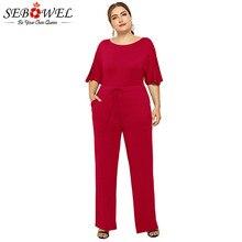 SEBOWEL Plus Size Casual Wide Leg Short Sleeve Summer Jumpsuit Woman Female Loose Solid Lace Up Romper and Jumpsuits L-XXXL