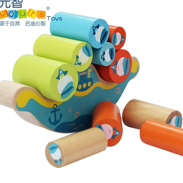 Wooden toy baby gift colorful balance stack game boat shape seaman pattern parent-child cylinder block birthday christmas 1 set