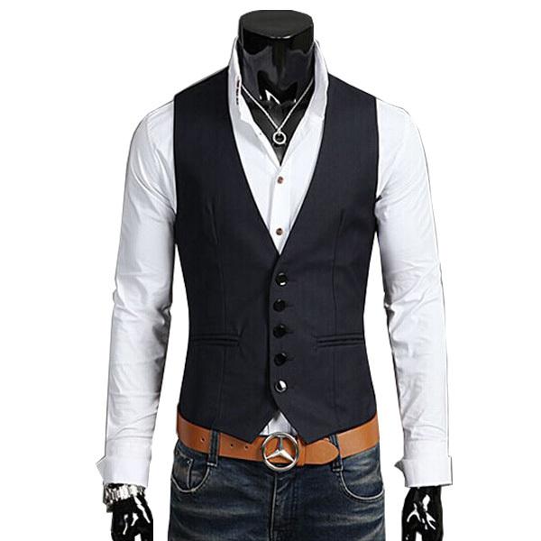 2015 venda Quente 100% algodão homens terno colete moda primavera fino Colete blazer dos homens de fitness Tops vestuário