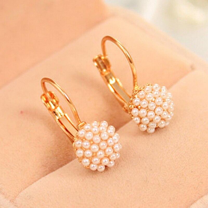 Стильный 1 пара Перл Бусины золото Цвет уха Интимные аксессуары  Серьги-кольца для Для женщин украшения подарок b74682c2683