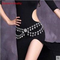 2017 Crystal Rhinestone Camellia Woman Dress Belt Belly Dance Waist Chain Silver Flower Fox Heart Design
