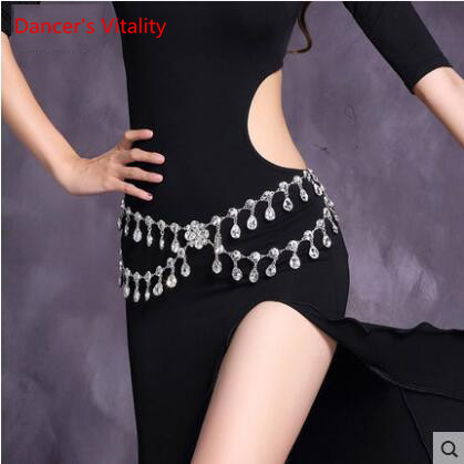 2017 Crystal Rhinestone Camellia Woman Dress Belt Belly Dance Waist Chain Silver Flower Fox Heart Design Free Shipping