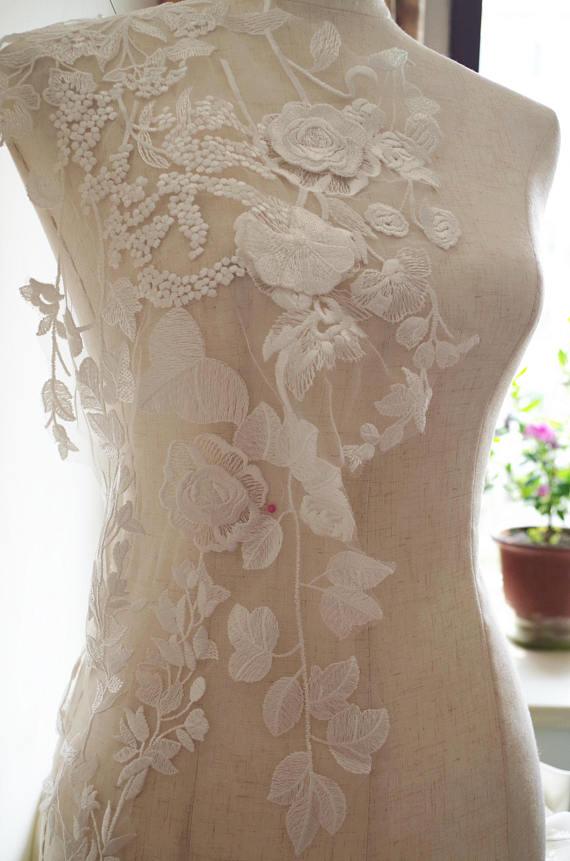 3D guipure Lace Applique, embroidered bodice lace applique, lace ...