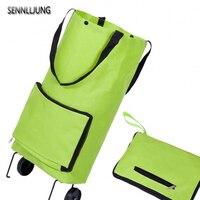 SENNLLJUNG Japanese Portable Oxford Folding Shopping Cart Bag With Wheels Trolley Bags Travel Storage Package Handbag