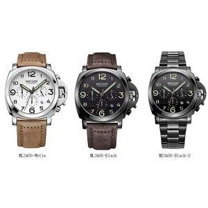 Image 2 - Бесплатная доставка MEGIR 3406 стильные кварцевые часы для мужчин с ремешком из натуральной кожи нубука мужские водостойкие наручные часы с аналоговым дисплеем