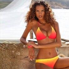 Sexy Bikini 2019 Push Up Set Swimwear Women Swimsuit Summer Beachwear Bathing Suit Halter Strap Blue Red Gradient